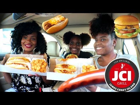 JAMES CONEY ISLAND MUKBANG! CHILI CHEESE DOGS & SPECIALTY HOT DOGS!