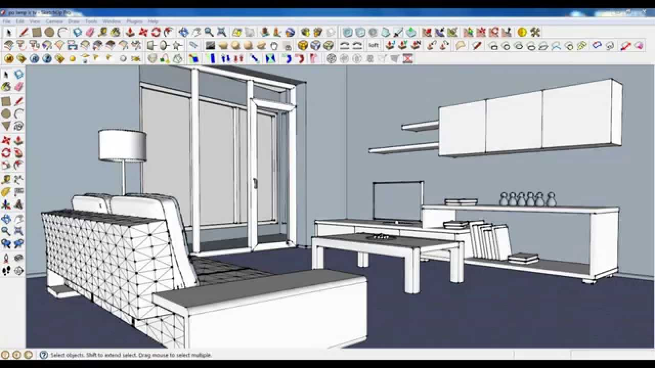 Sketchup tutorial part 04 living room modeling plant for Living in a model apartment