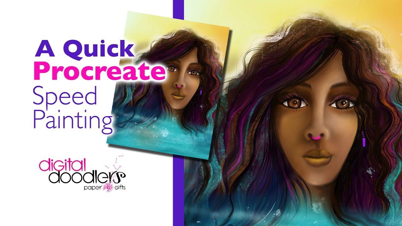 Watercolor Melanin Girl Procreate Painting
