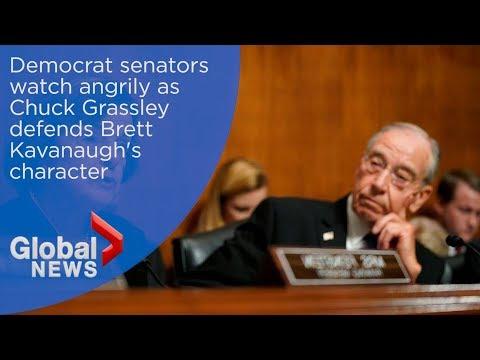 Democrat senators watch angrily as Grassley defends Kavanaugh
