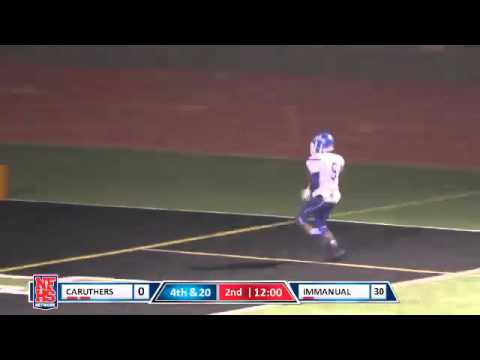 Caruthers #5 Alex Puga returns a blocked kick 70 yards for a TD