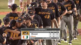 HIGHLIGHTS:  Mizzou Baseball shuts out Miami (FL)