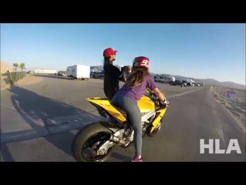 GIRL LEARNS TO RIDE A SUPERBIKE AT THE RACE TRACK, HOW TO RIDE