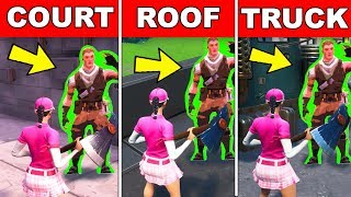 Find Jonesy near the Basketball Court, Rooftops, Back of a truck (Downtown Drop Challenge) Fortnite