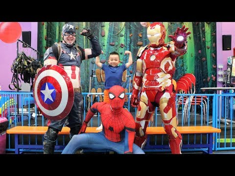 MY SUPERHERO BIRTHDAY! Indoor Kids Playground Fun With Spide