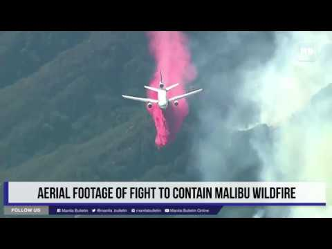 Aerial footage of fight to contain Malibu wildfire