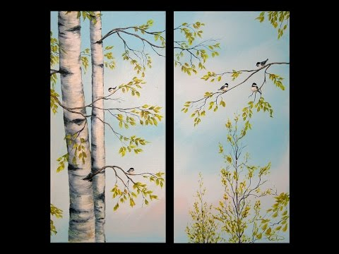 Painting Birch Trees - 'Feathered Friends' - Acrylic Demonstration Part 1