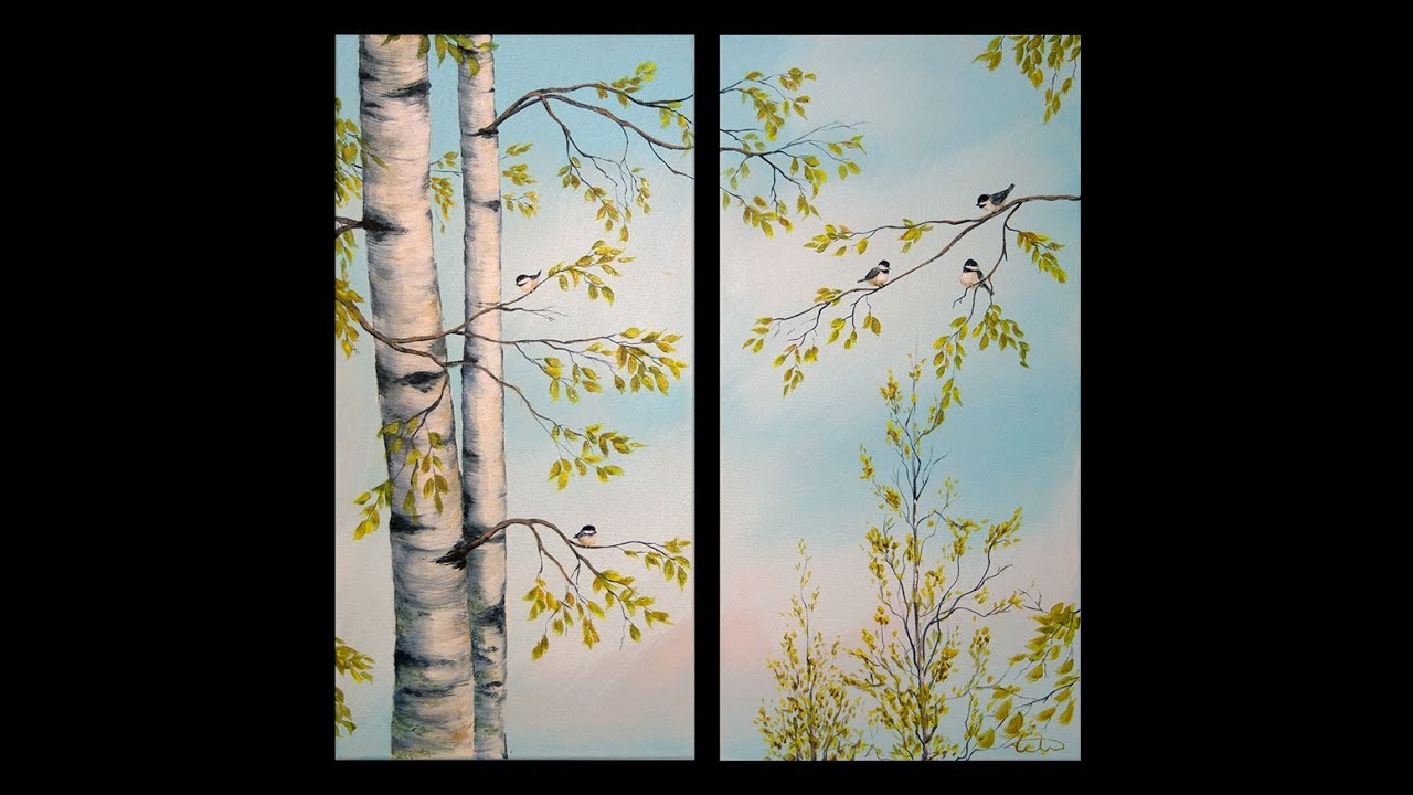 painting birch trees 39 feathered friends 39 acrylic demonstration part 1 youtube. Black Bedroom Furniture Sets. Home Design Ideas