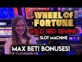 MAX BET! Free Spins! Wheel of Fortune Wild Red Sevens!