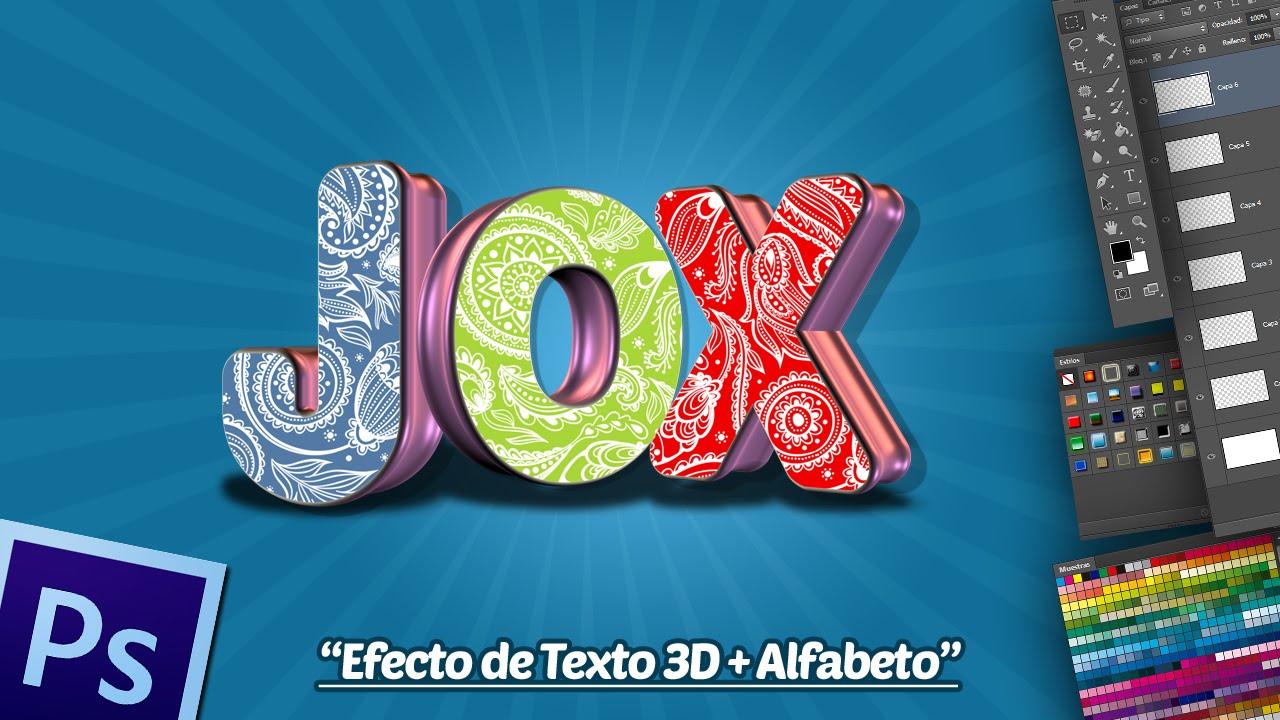 Efecto de Texto 3D + Alfabeto PNG en Photoshop. - YouTube