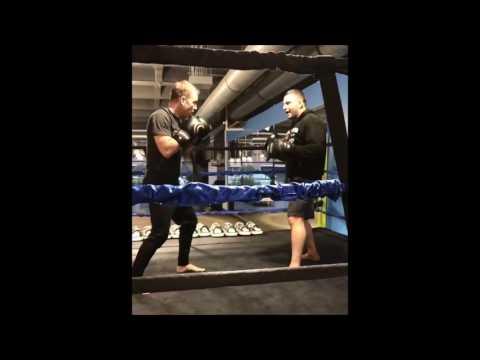 Bryan Callen Hitting Mitts in Gym