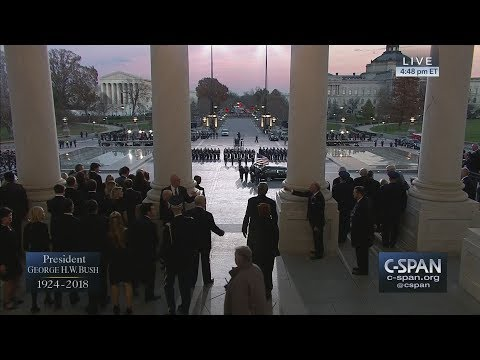 President George H.W. Bush's casket arrives at the U.S. Capitol (C-SPAN)