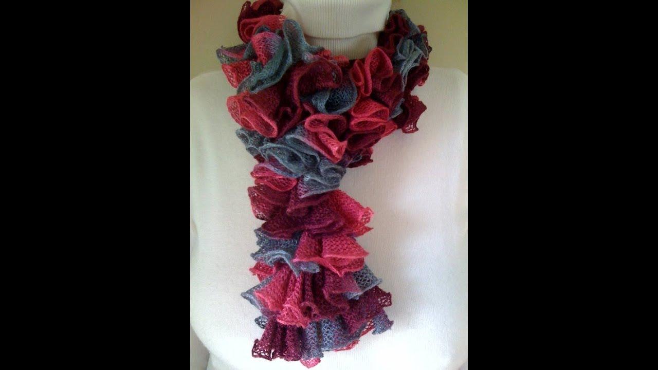 Crochet a Double Crochet Ruffled Scarf - YouTube