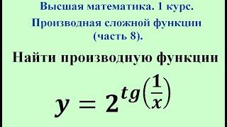 Производная  сложной функции (часть 8). Высшая математика.