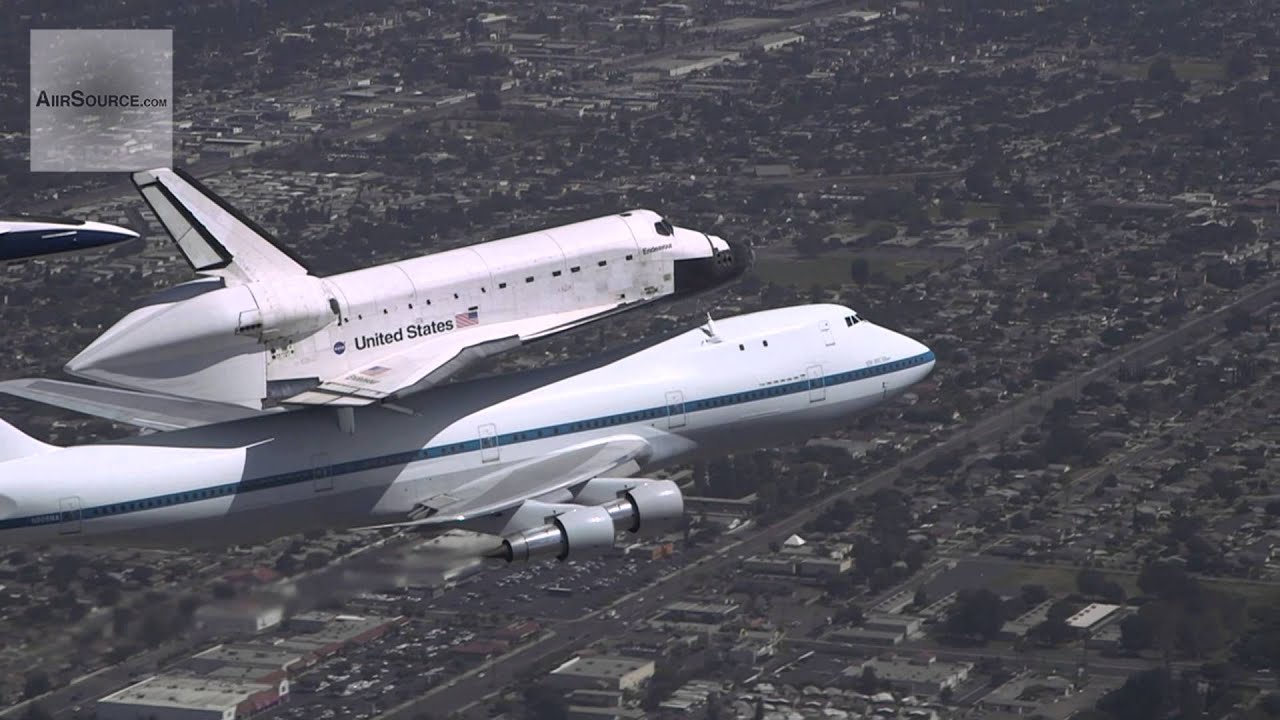 Space Shuttle Endeavor on Boeing 747 Over Los Angeles PHOTO