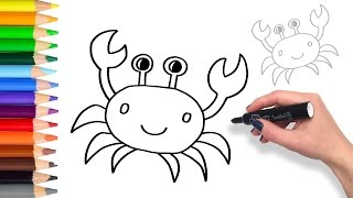 Learn How to draw a Crab   Teach Drawing for Kids and Toddlers Coloring Page Video