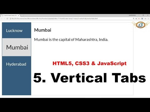 5. Vertical Tabs | Menu | HowToCreate Series | HTML5, CSS3 & JavaScript