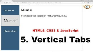 5. Vertical Tabs | Menu | HowToCreate Series | HTML5, CSS3 & JavaScript