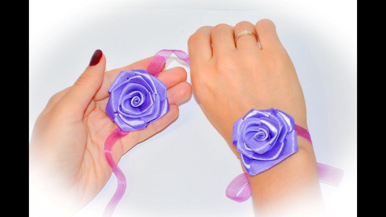 Розы из лент браслеты из