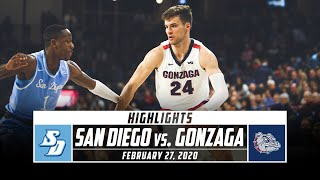 San Diego vs. No. 3 Gonzaga Basketball Highlights (2019-20) | Stadium