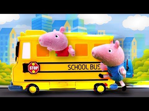 Свинка Пеппа собирается в школу! Мягкие игрушки и детское видео про школу для героев мультиков