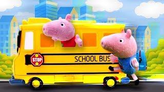 Фото Свинка Пеппа собирается в школу Мягкие игрушки и детское видео про школу для героев мультиков