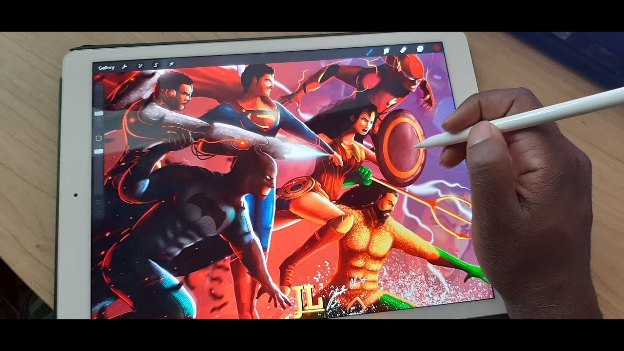 Justice League time-lapse ipad pro drawing by art face