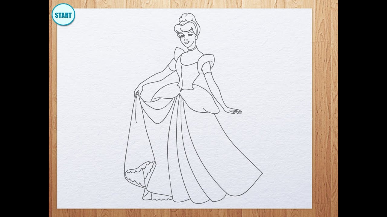 How to draw cinderella youtube
