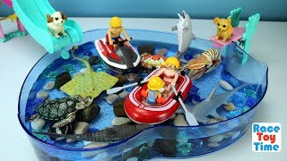 Playmobil Raft Playset with Fun Toys Swimming Puppies and Sea Animal  For kids