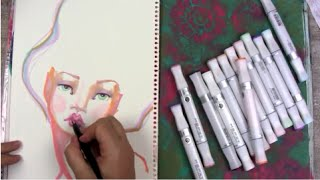 Drawing a whimsical Face using MEPXY Alcohol Markers with Jane Davenport