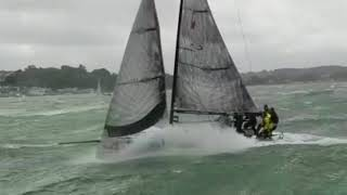 Pure action and speed at Stormy Cowes Week. FARR 280 4sale GER 7333