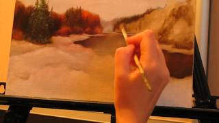 Уроки живописи маслом. Фламандская техника. Осенний пейзаж. Часть 2.