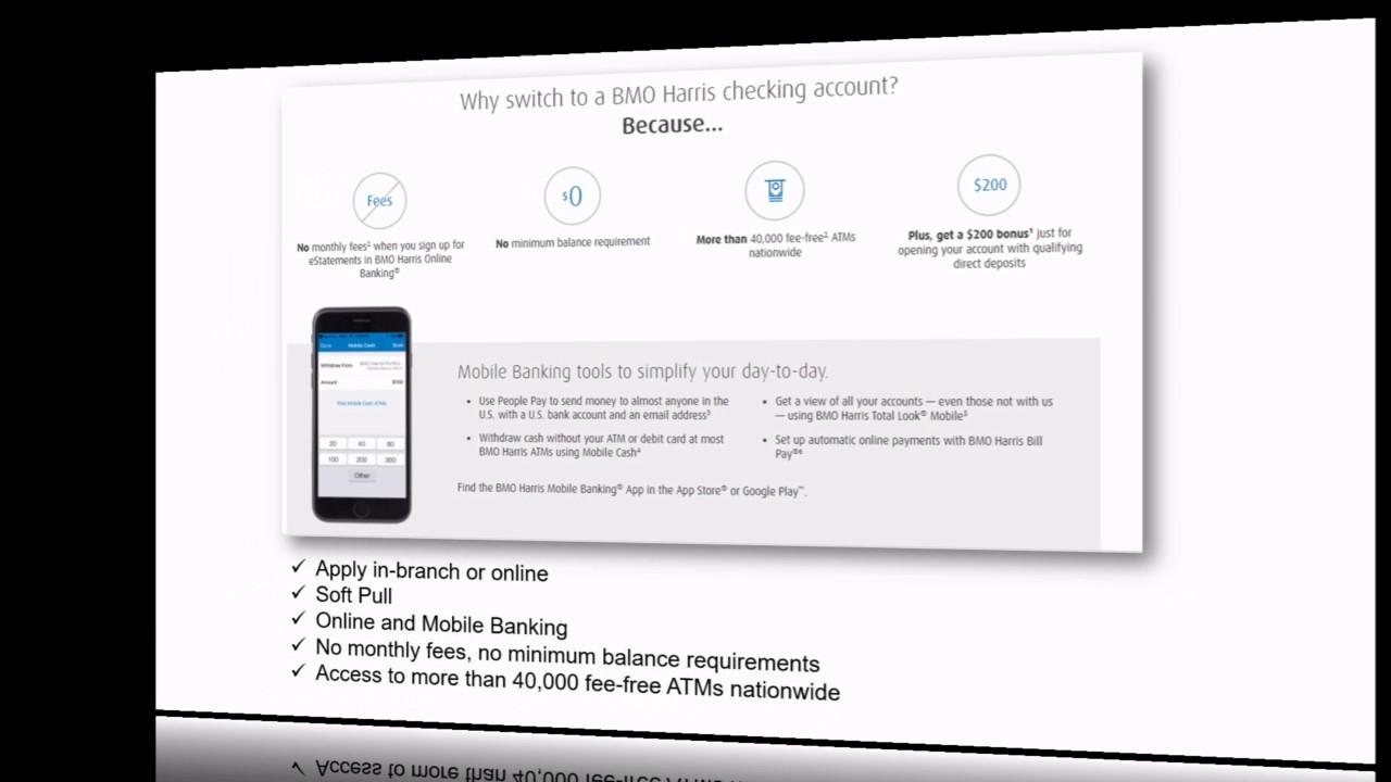 BMO Harris Bank Checking Promotion: $200 Bonus - YouTube