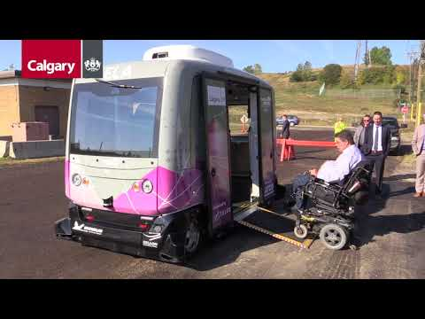 Autonomous Vehicle Ready To Transport Visitors Between TELUS Spark And Calgary Zoo