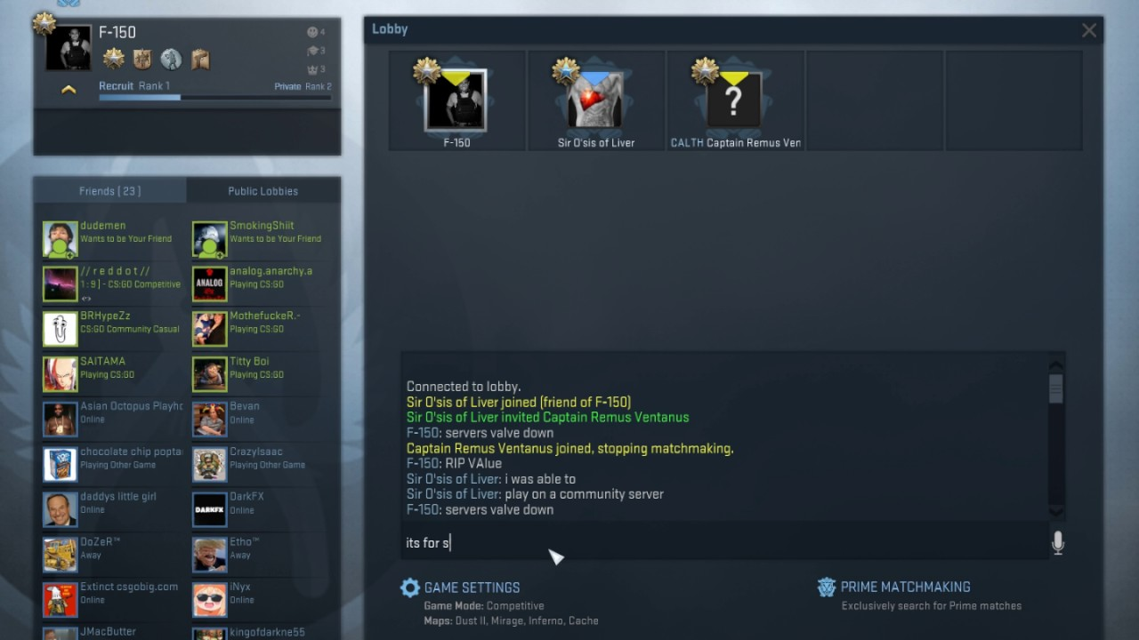 global offensive matchmaking down