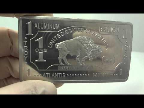 1 oz aluminum buffalo bullion bar .999 fine