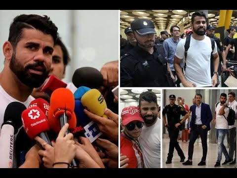 Diego Costa admits he has returned 'home' as he lands in Madrid to seal £67m move to Atletico