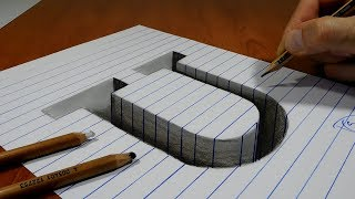 Draw a Letter U Hole on Line Paper   3D Trick Art