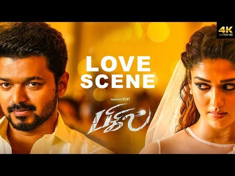 Bigil | 2019 Latest Tamil Movie | Love Scene | Vijay | Nayathara | 4k (English Subtitles)