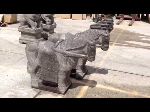 Huge Pair Chinese Antique Hand Carving Standing Horse Statue WK2809