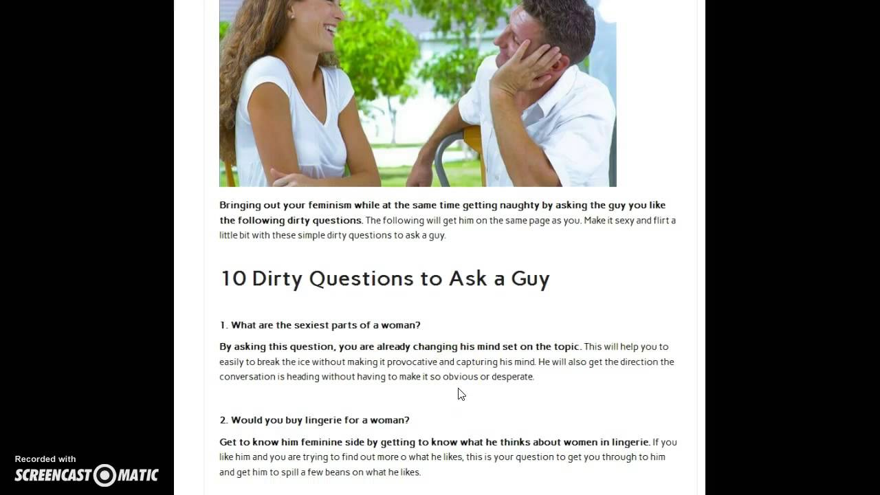 10 dirty questions to ask a guy