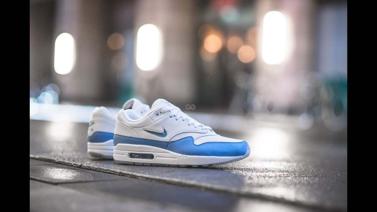brand new 95f6a 0cccd ... switzerland review on feet nike air max 1 premium sc jewel white university  blue 320b7 6a667