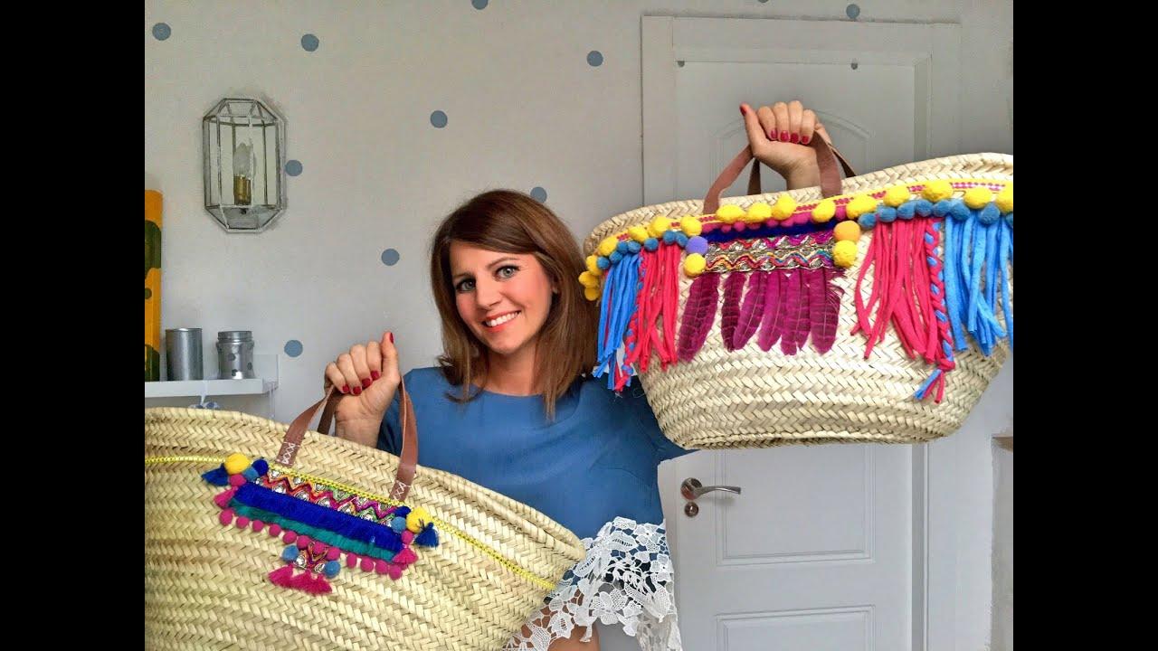 Diy como decorar un capazo de playa de locura youtube - Como adornar cestas de mimbre ...