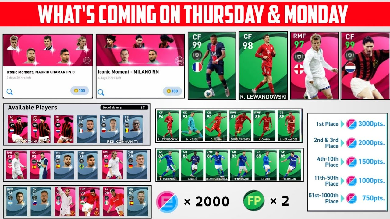 WHAT IS COMING ON TOMORROW AND MONDAY   FREE E-POINTS, ICONIC  ,POTW   PES 2021 MOBILE