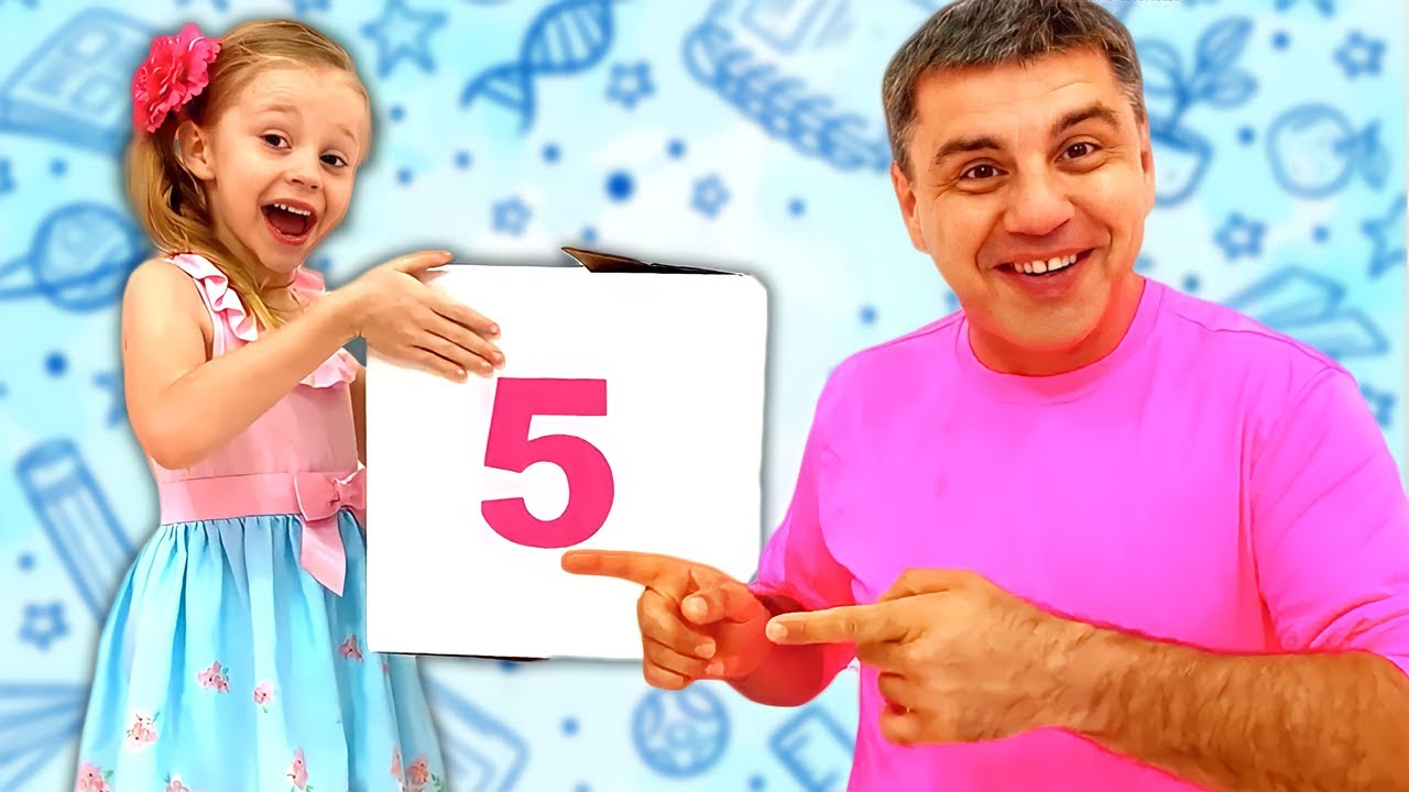 Nastya and dad learn how to count numbers. Story for kids