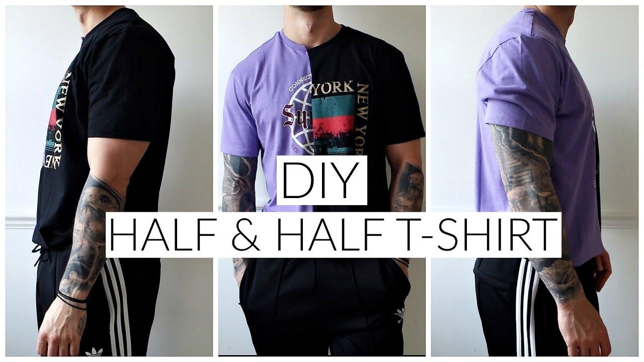 5e2f6287 DIY TUMBLR HALF & HALF T-SHIRT | No sewing | Men's Fashion | Daniel ...