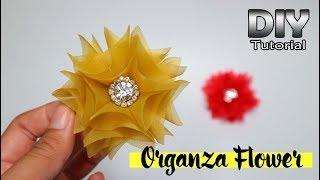 DIY - Tutorial Organza Fabric Flower 02   Simple For Beginners   Bunga serut dari kain kaca