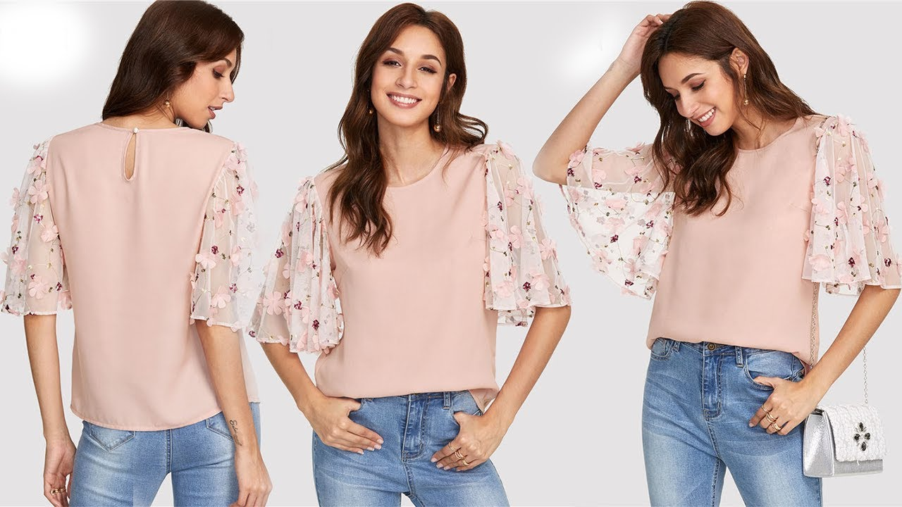 bf0ab1c5e2592a Women's trendy chiffon tops / Butterfly Sleeve Button Blouse 2018 ...
