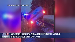 Virginia State Police arrest North Carolina woman after they say she ran, hit patrol car