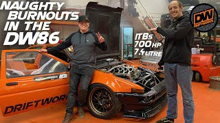 Naughty Burnouts In The 700hp DW86 - 7.4litre Toyota AE86 Drift Car